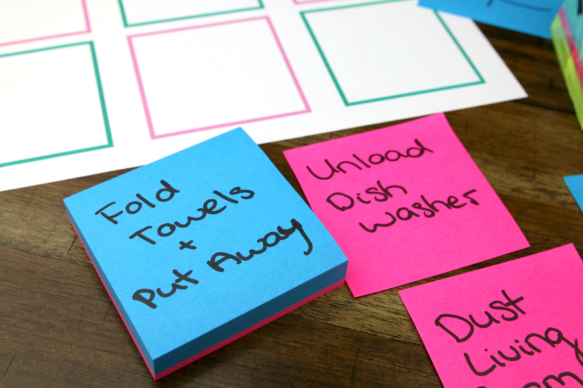 write chores on Post-it Notes