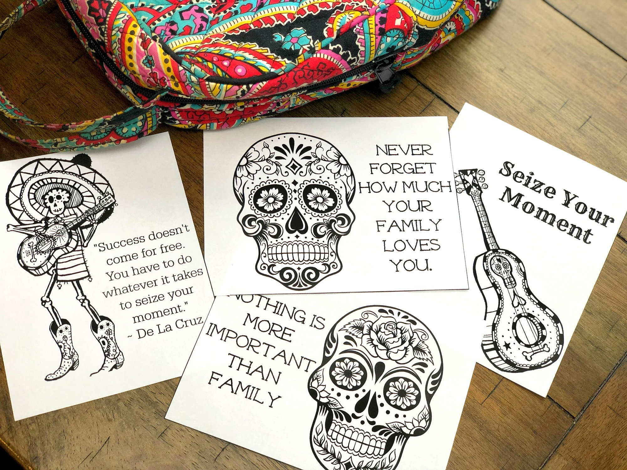 Disney Pixar Coco Free Printable Day of the Dead lunchbox notes