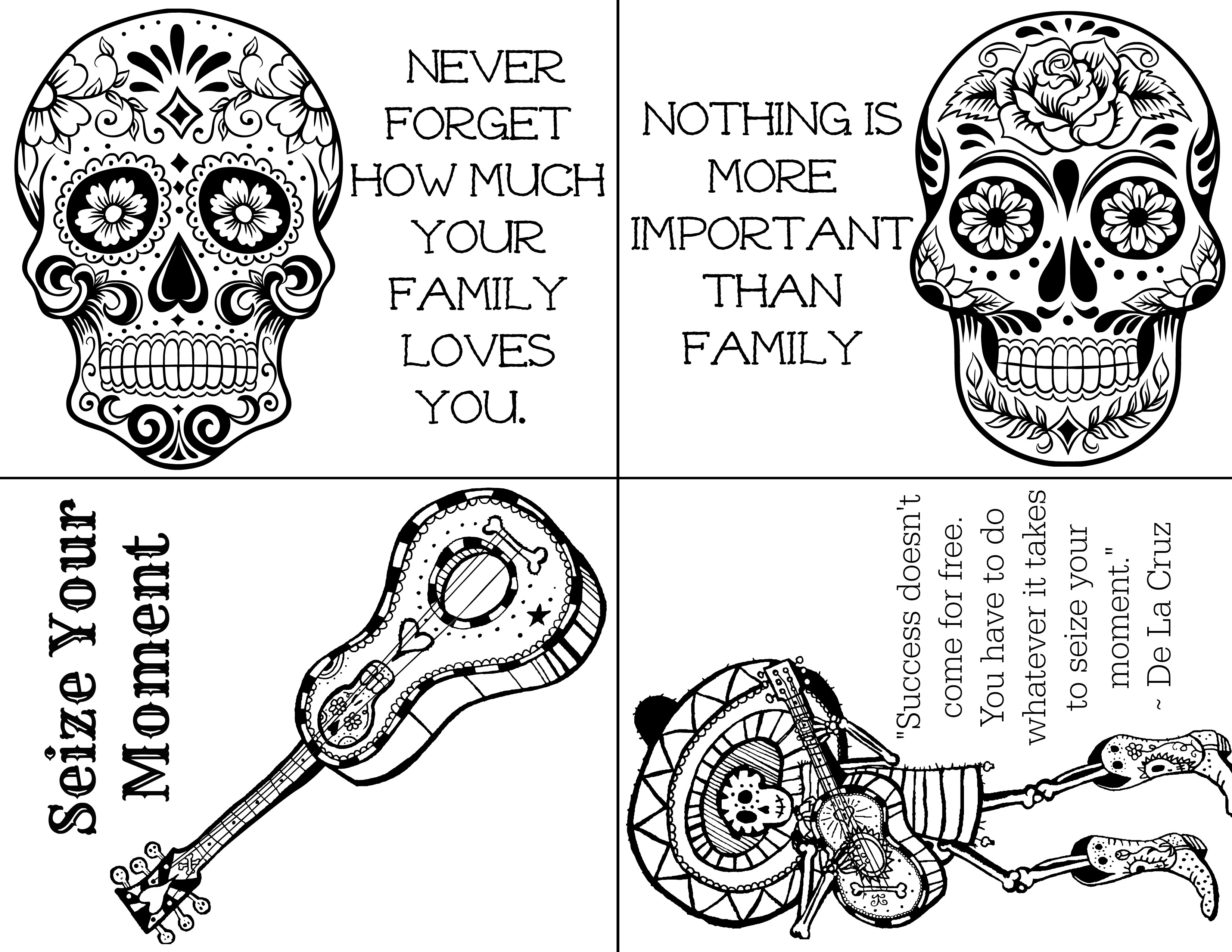 free printable day of the dead lunchbox notes
