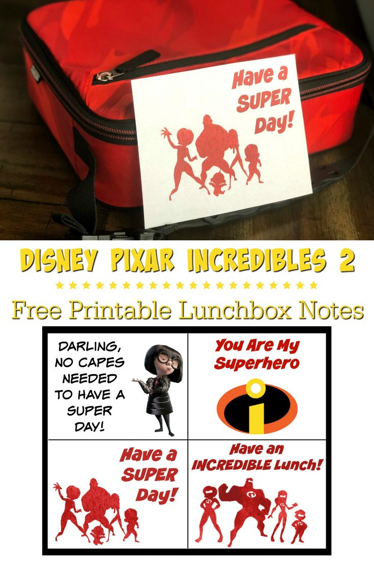 Disney Pixar Incredibles Lunchbox Notes