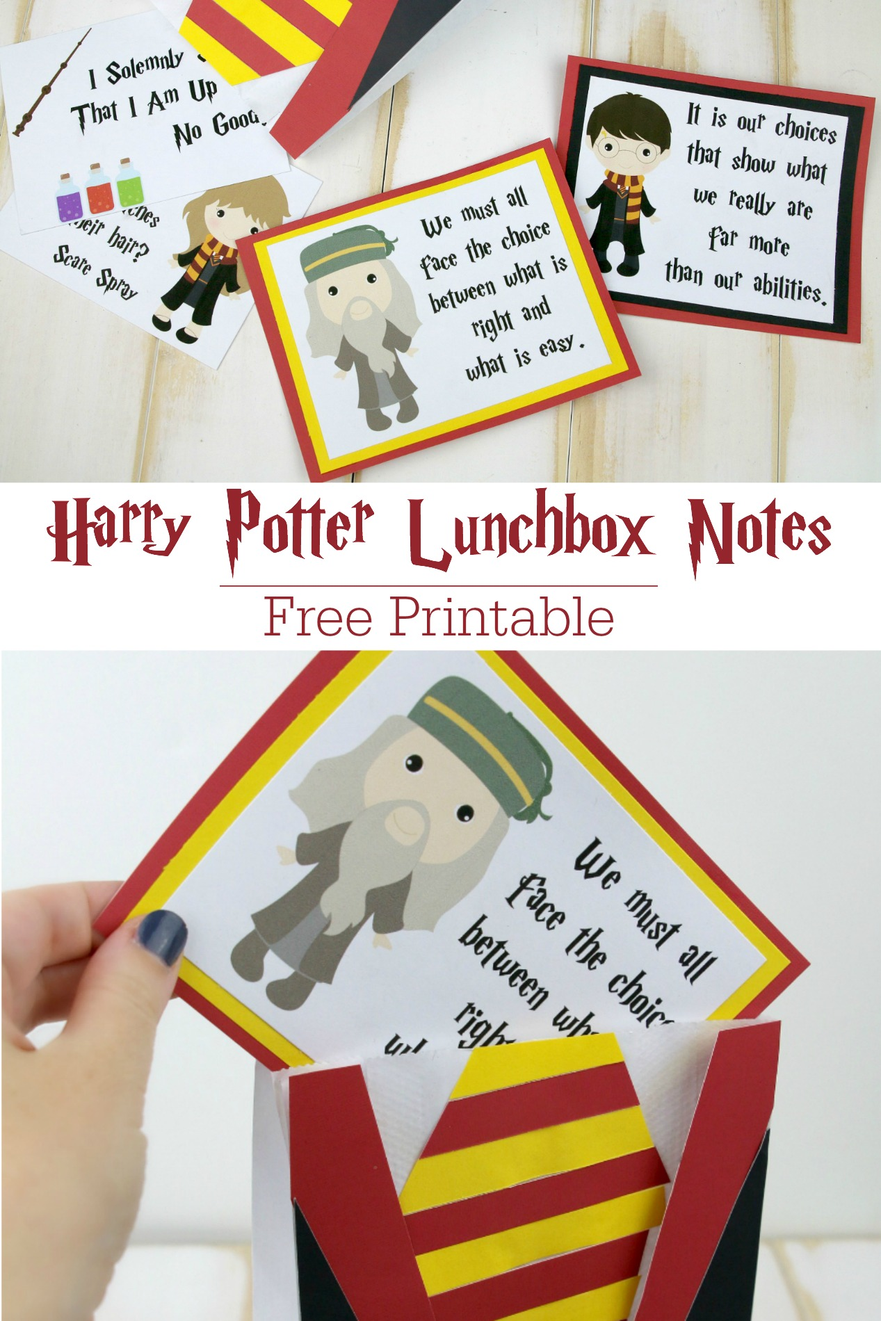 Free Printable Harry Potter Lunchbox Notes pin