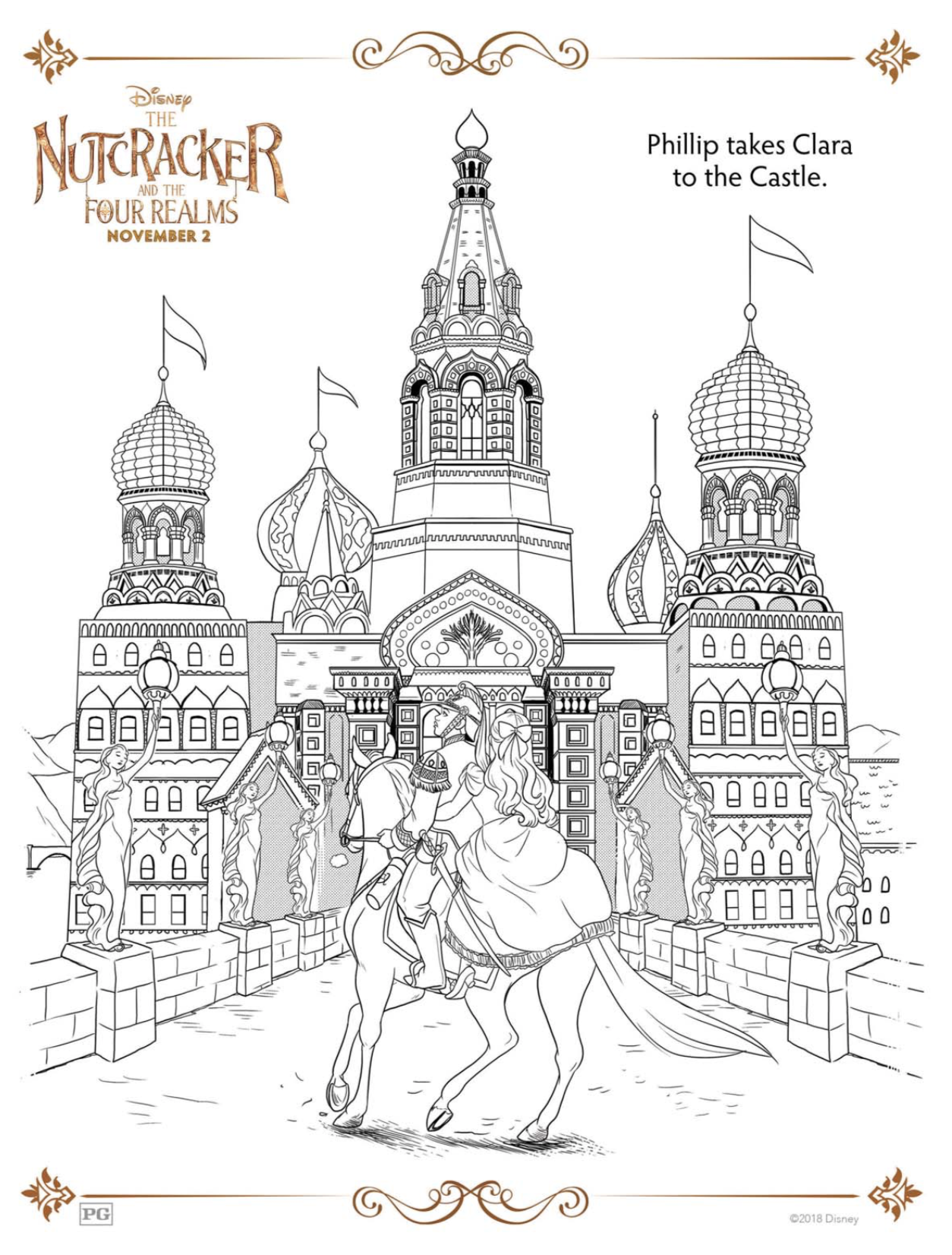 Disney Nutcracker and the Four Realms Castle coloring sheet