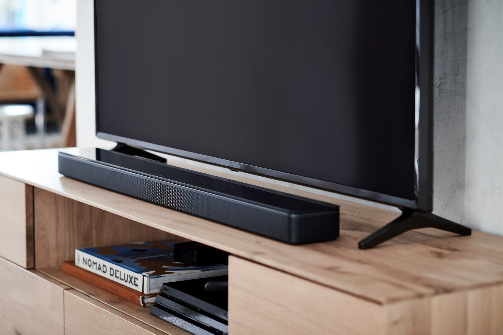 home entertainment with sound bar