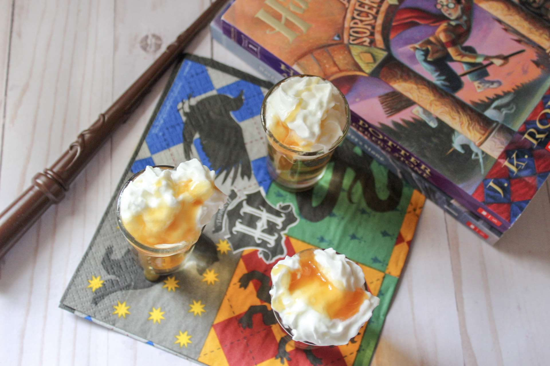 drizzle butterscotch topping to your butterbeer shots