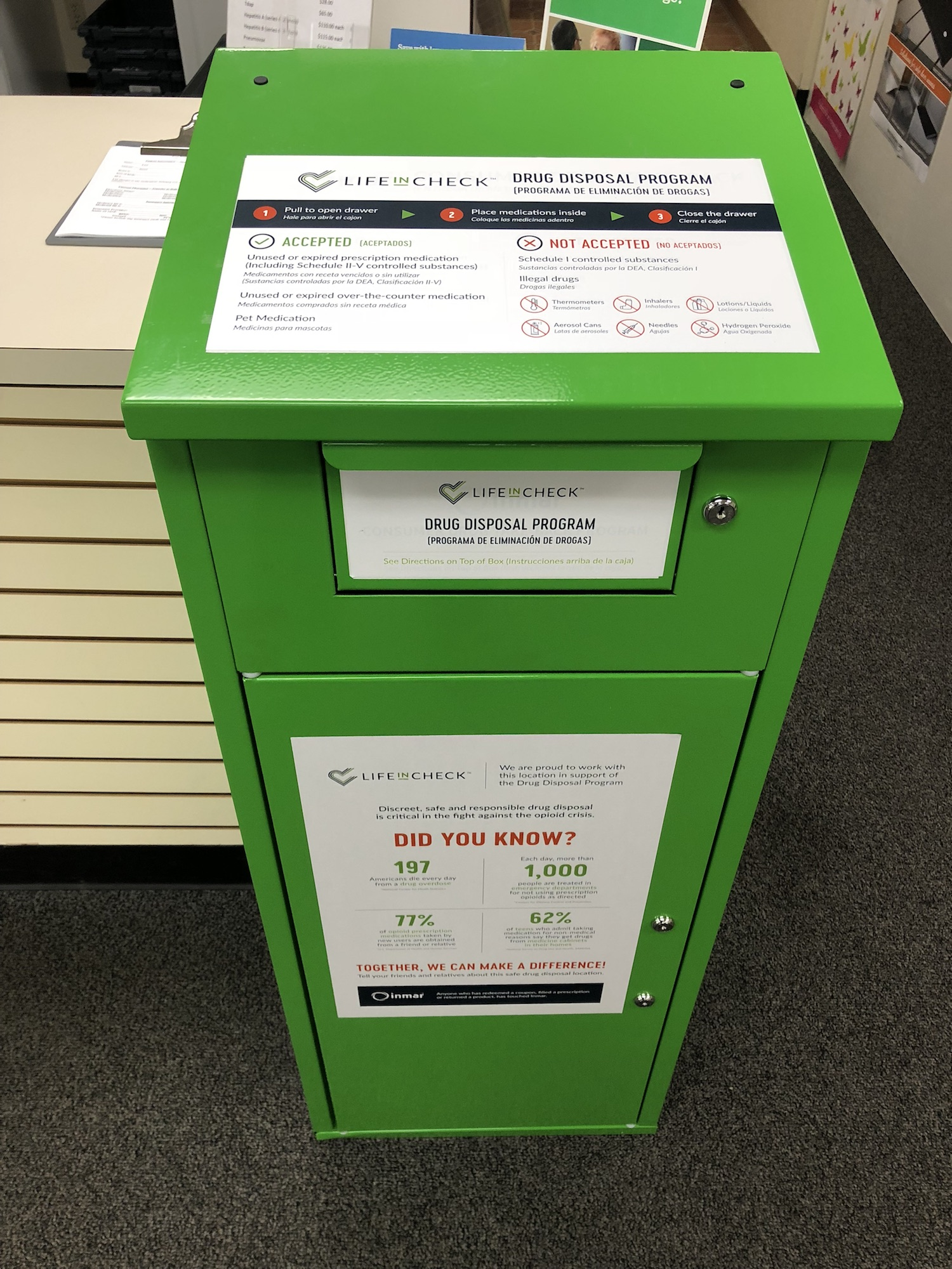 LifeInCheck medication disposal receptacle