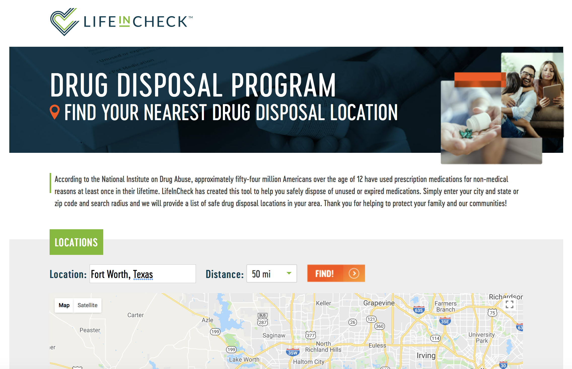 LifeInCheck Drug Disposal locations