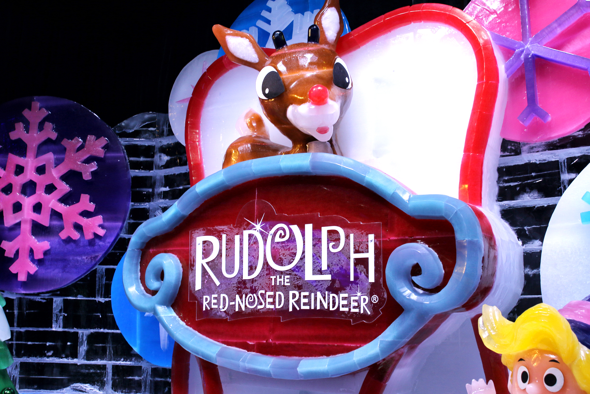Rudolph the Red-Nosed Reindeer Ice exhibit