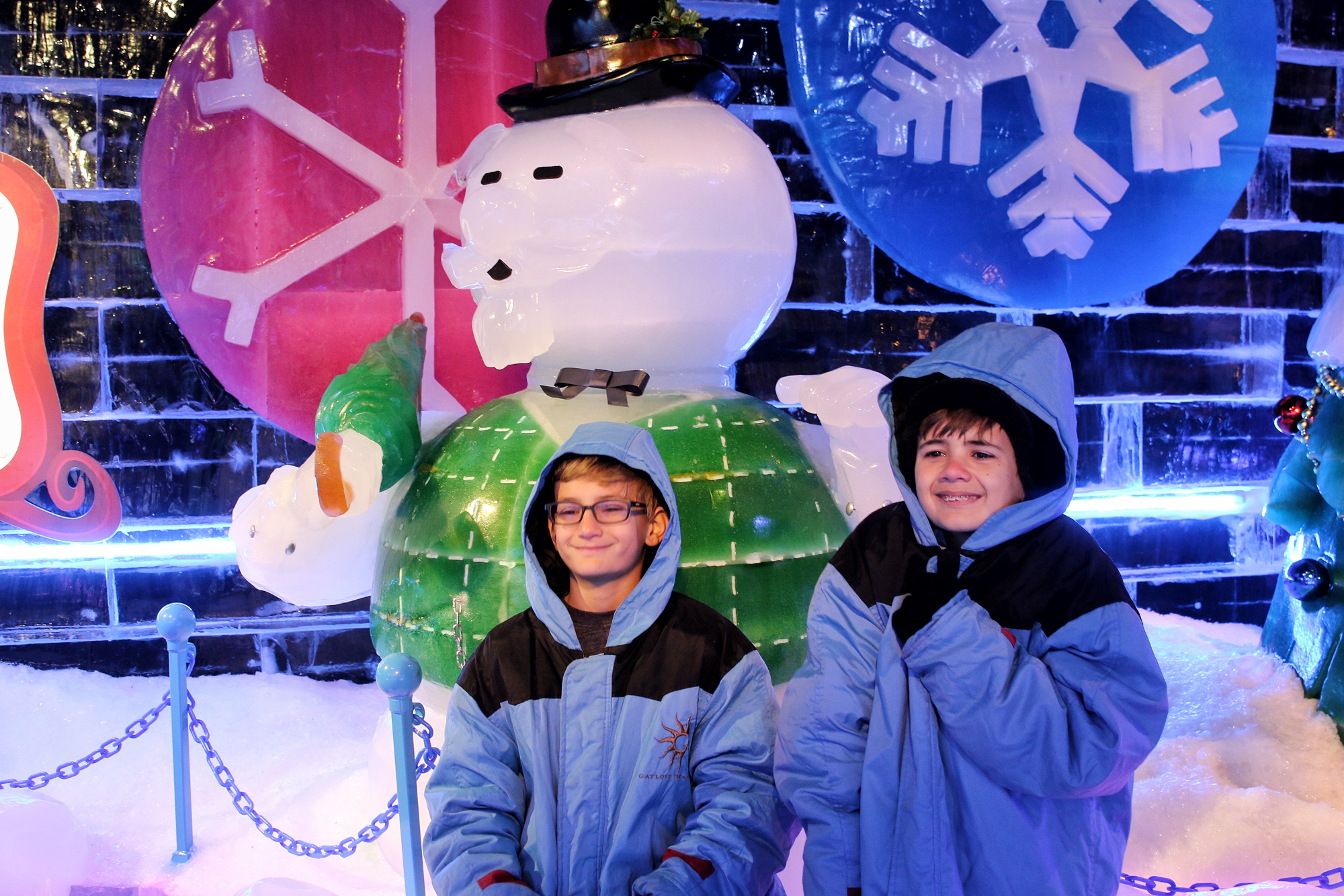 Beaux and Noah freezing inside the Ice at Gaylord Texan