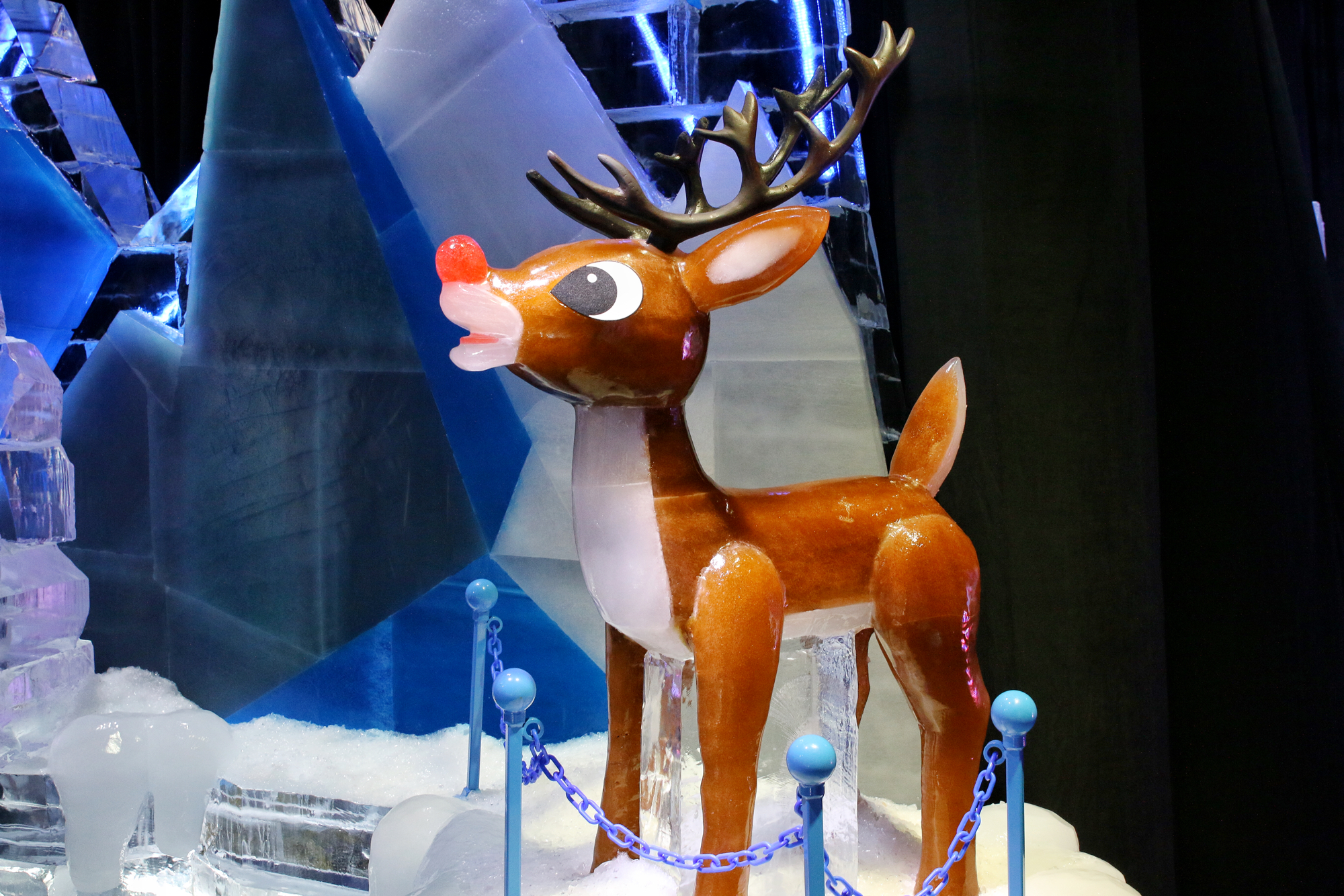 Rudolph the reindeer made of ice