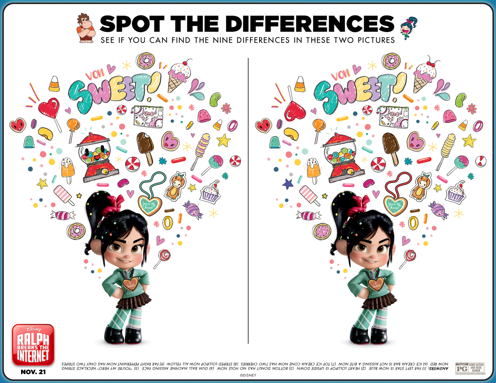 Spot the Difference Vanellope activity sheet