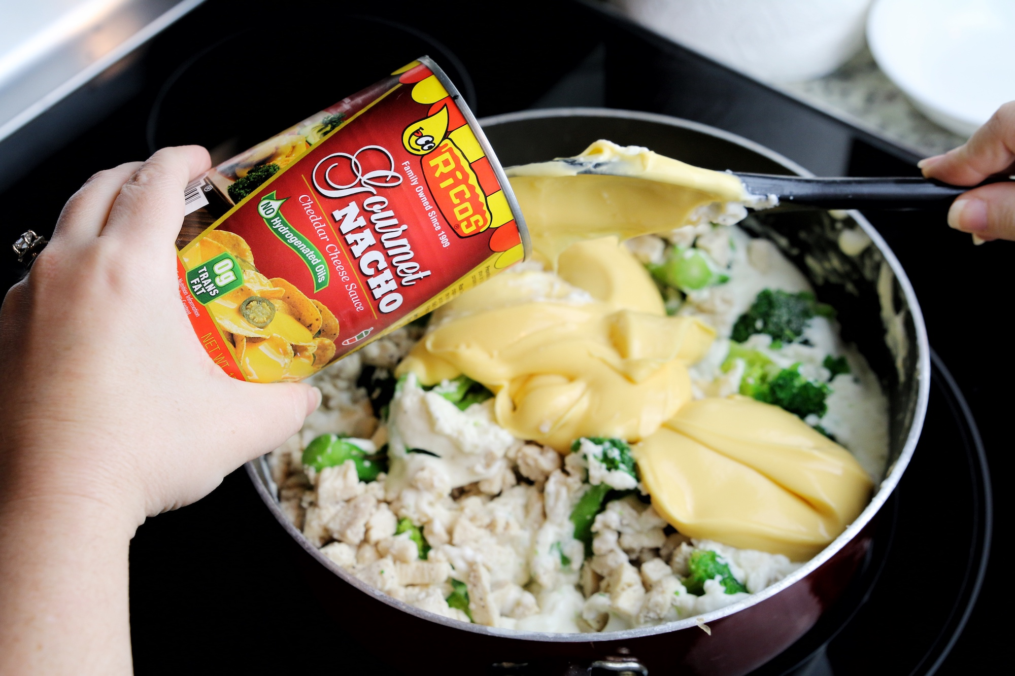 add Ricos Cheese to your chicken broccoli mix