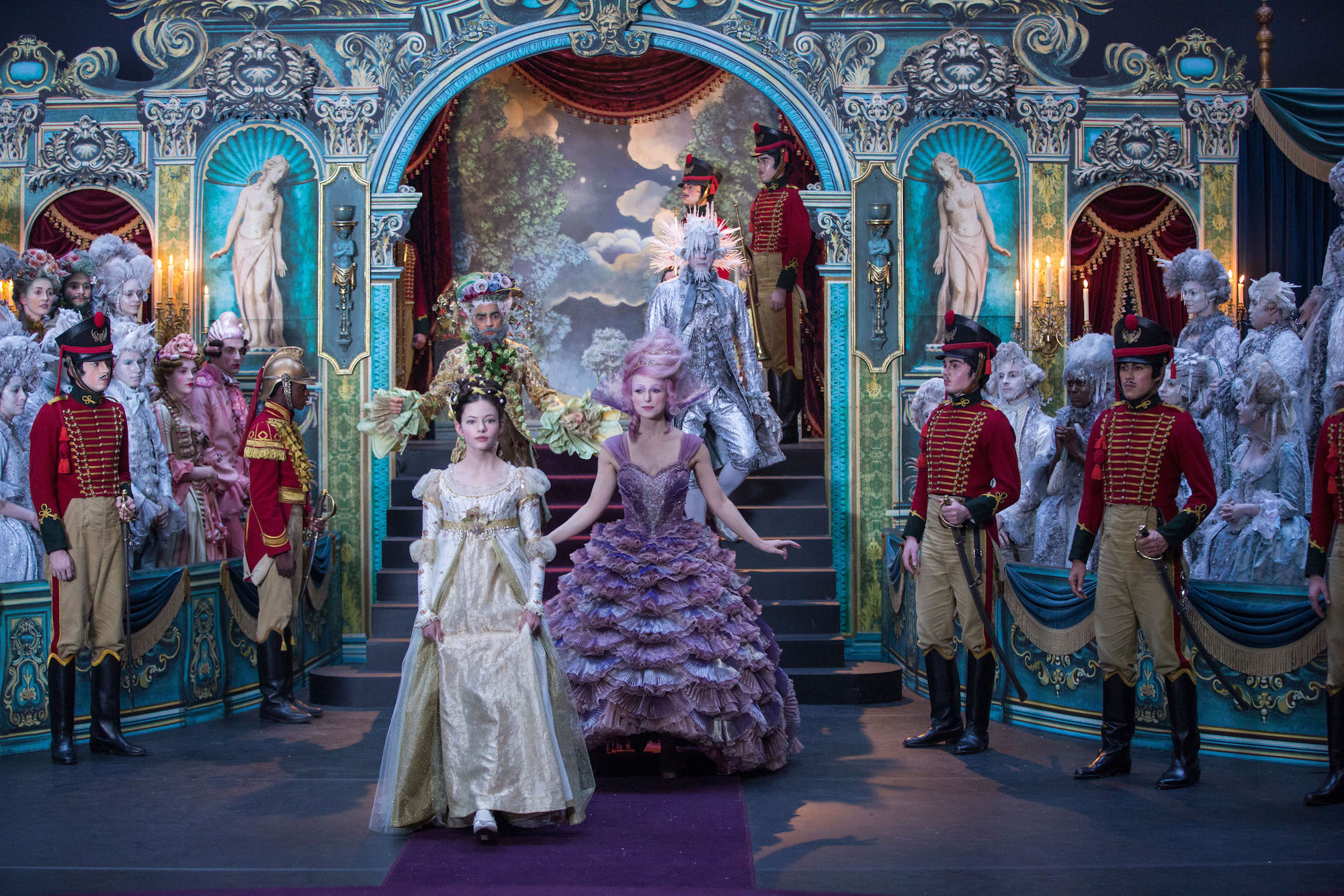 Mackenzie Foy is Clara, Keira Knightley is Sugar Plum Fairy, Jaden Fowara-Knight is Phillip, Eugenio Derbez is Hawthorne