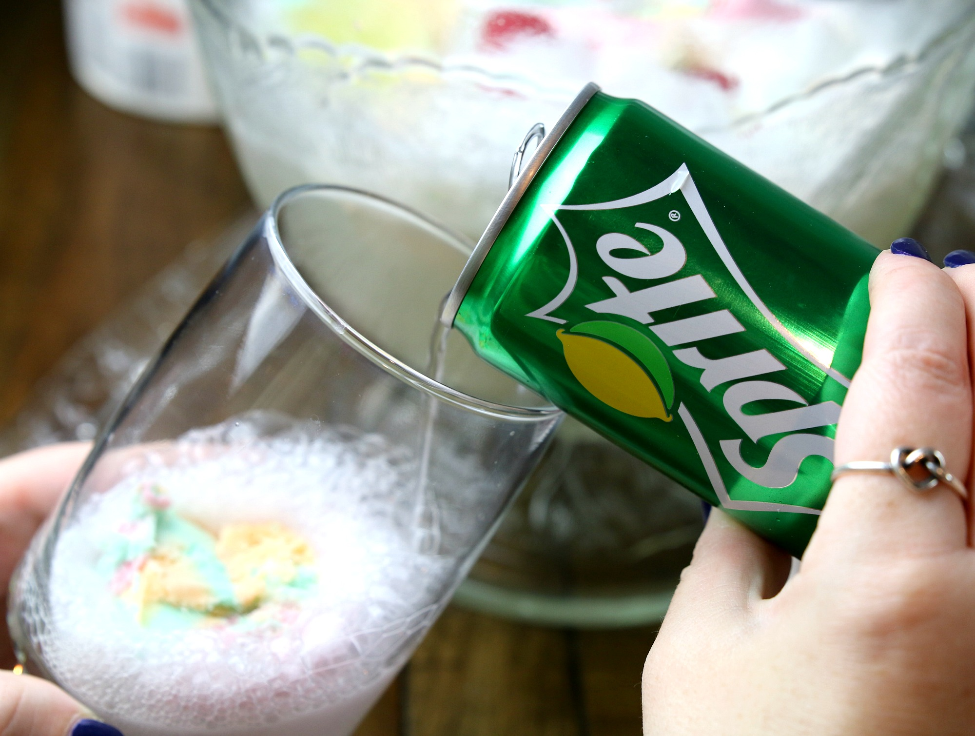 pour sprite in party punch