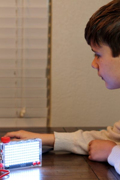 Noah coding with Kano Pixel Kit