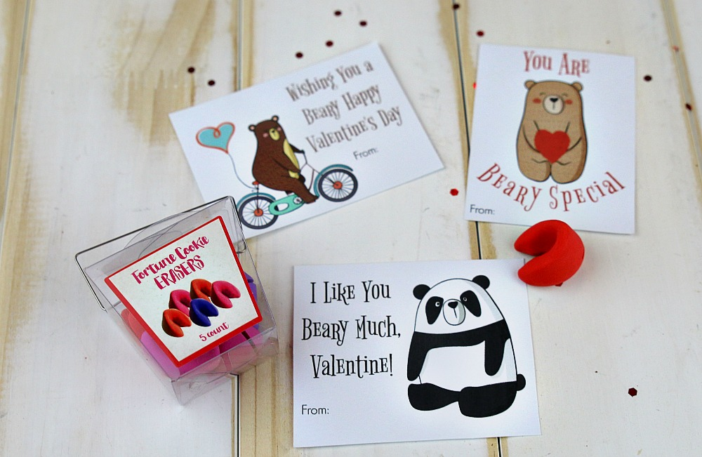 Printable Bear Valentine's Day cards with fortune cookie erasers