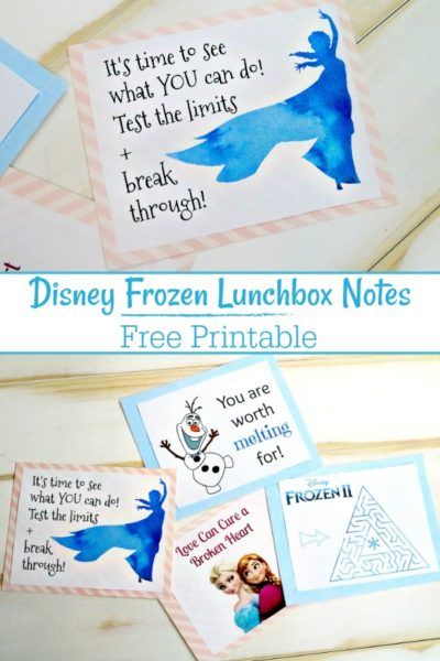 Free Printable Disney Frozen Lunchbox Notes