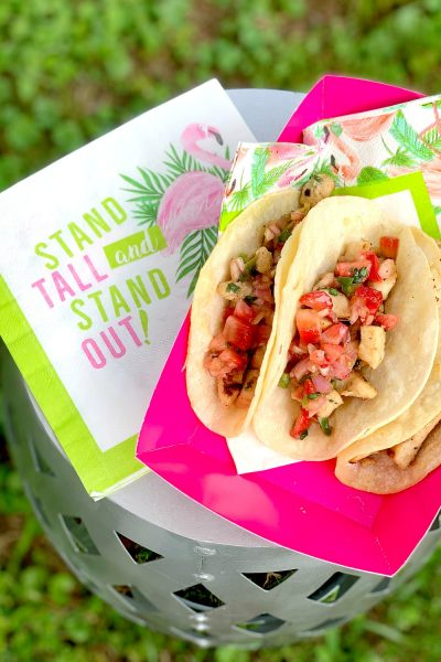 Chicken Street Tacos with Strawberry Salsa