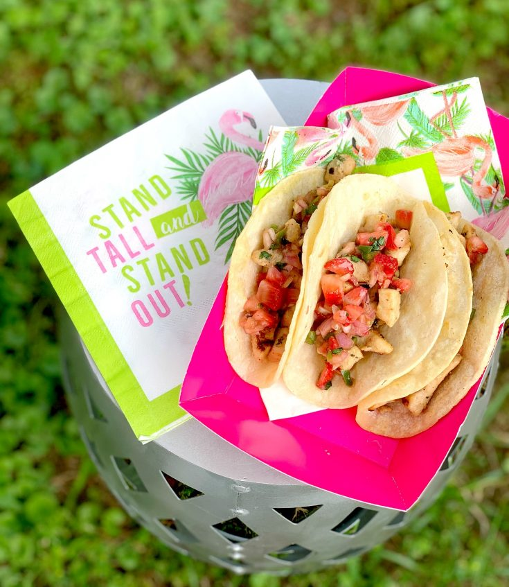 Grilled Chicken Street Tacos with Strawberry Salsa