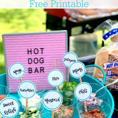 Hot Dog Toppings Bar with Free Printable
