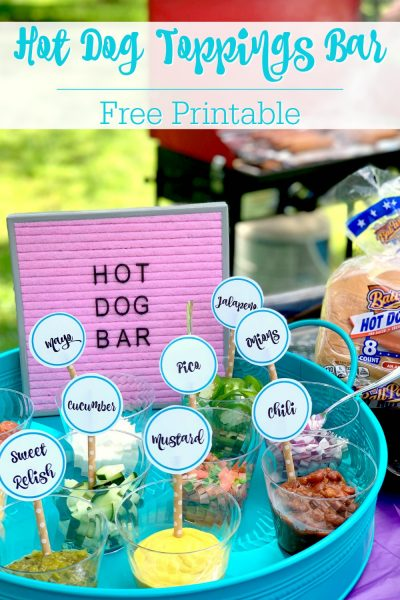 Hot Dog Toppings Bar Free Printable