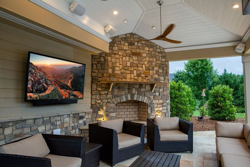 backyard patio with tv