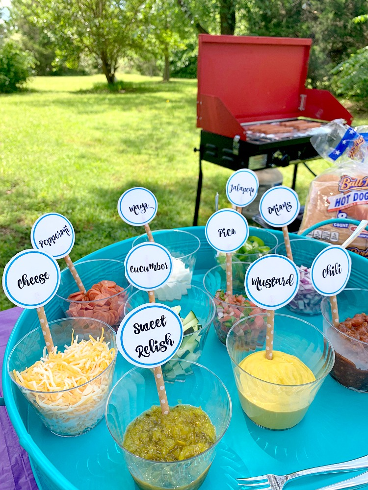 variety of hot dog toppings