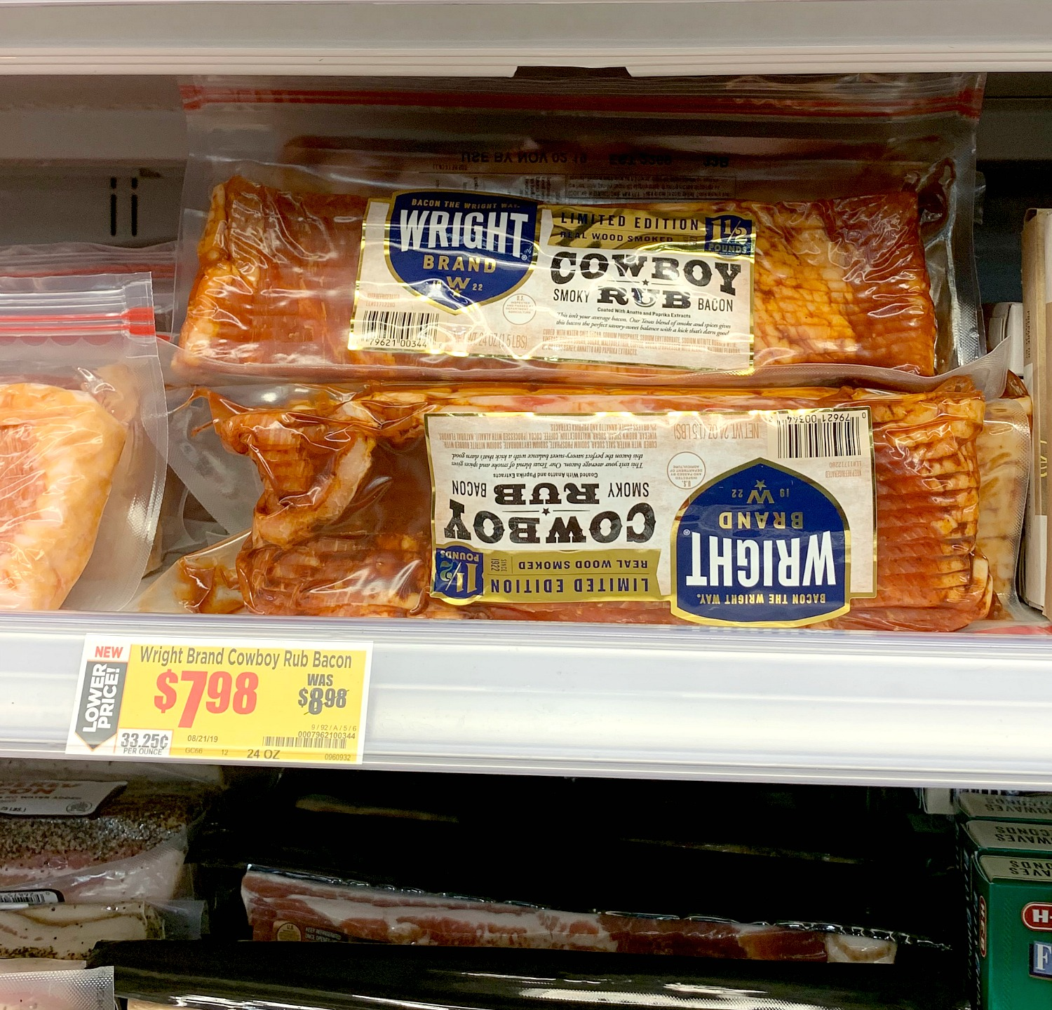 Wright Brand bacon in store photo HEB