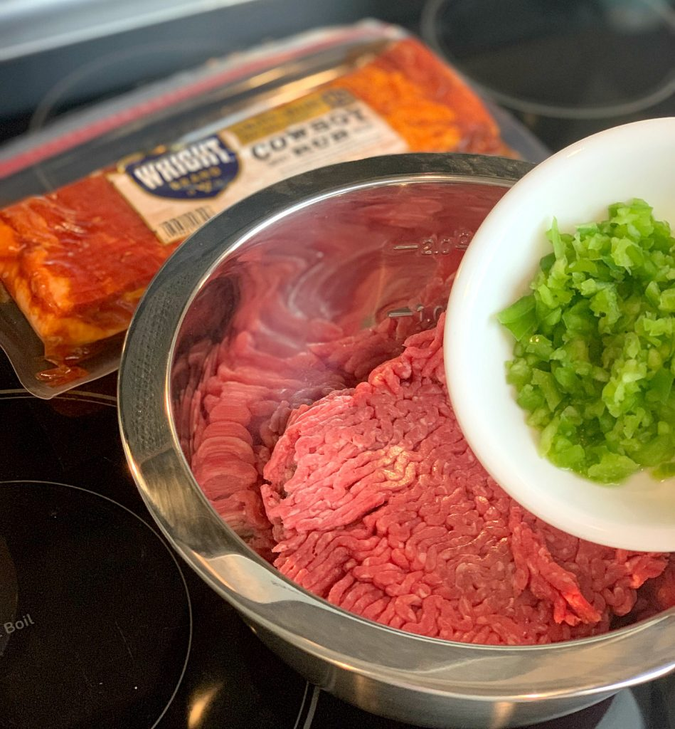 add bell pepper to meat