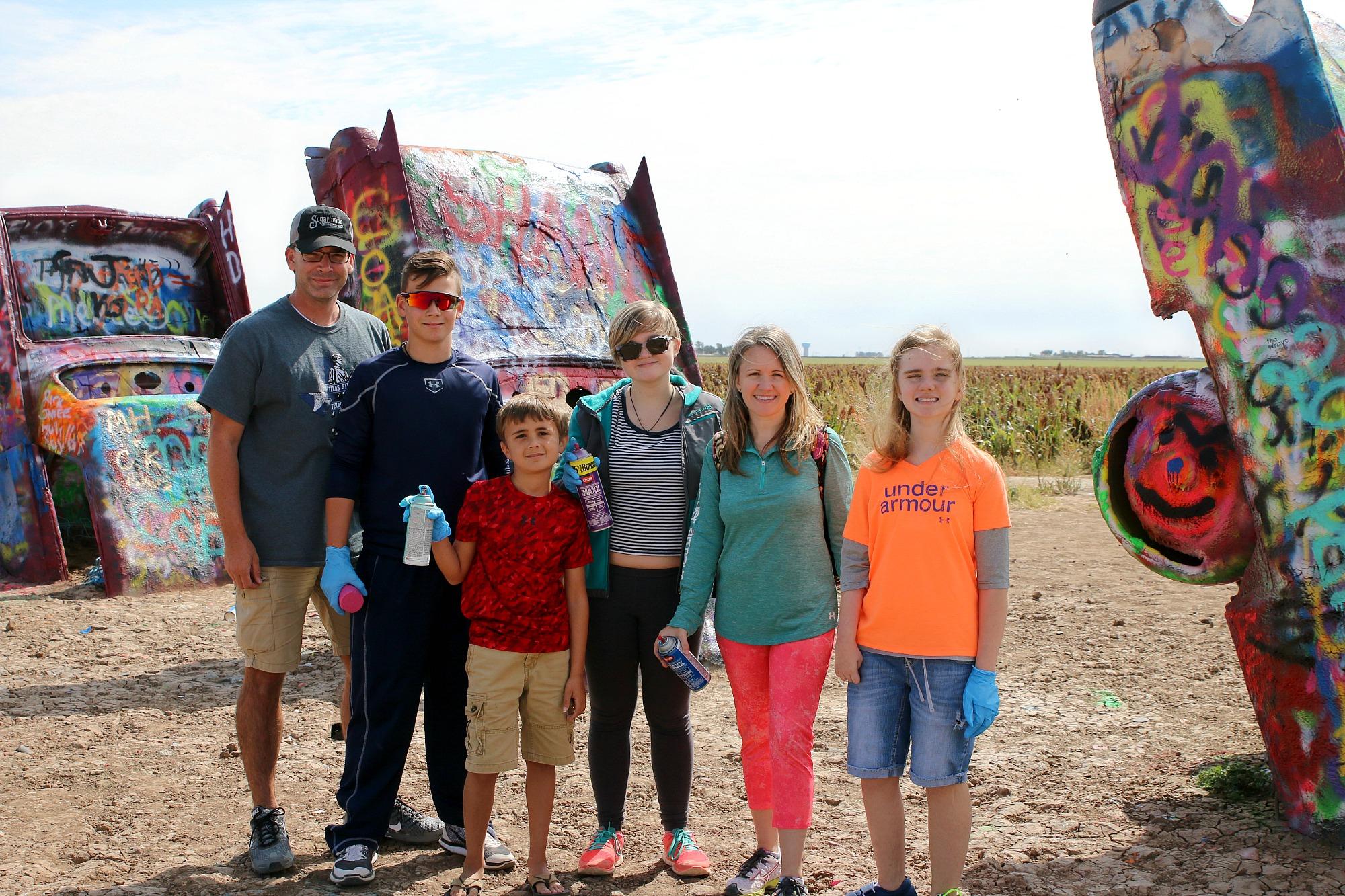 family at Cadillac ranch