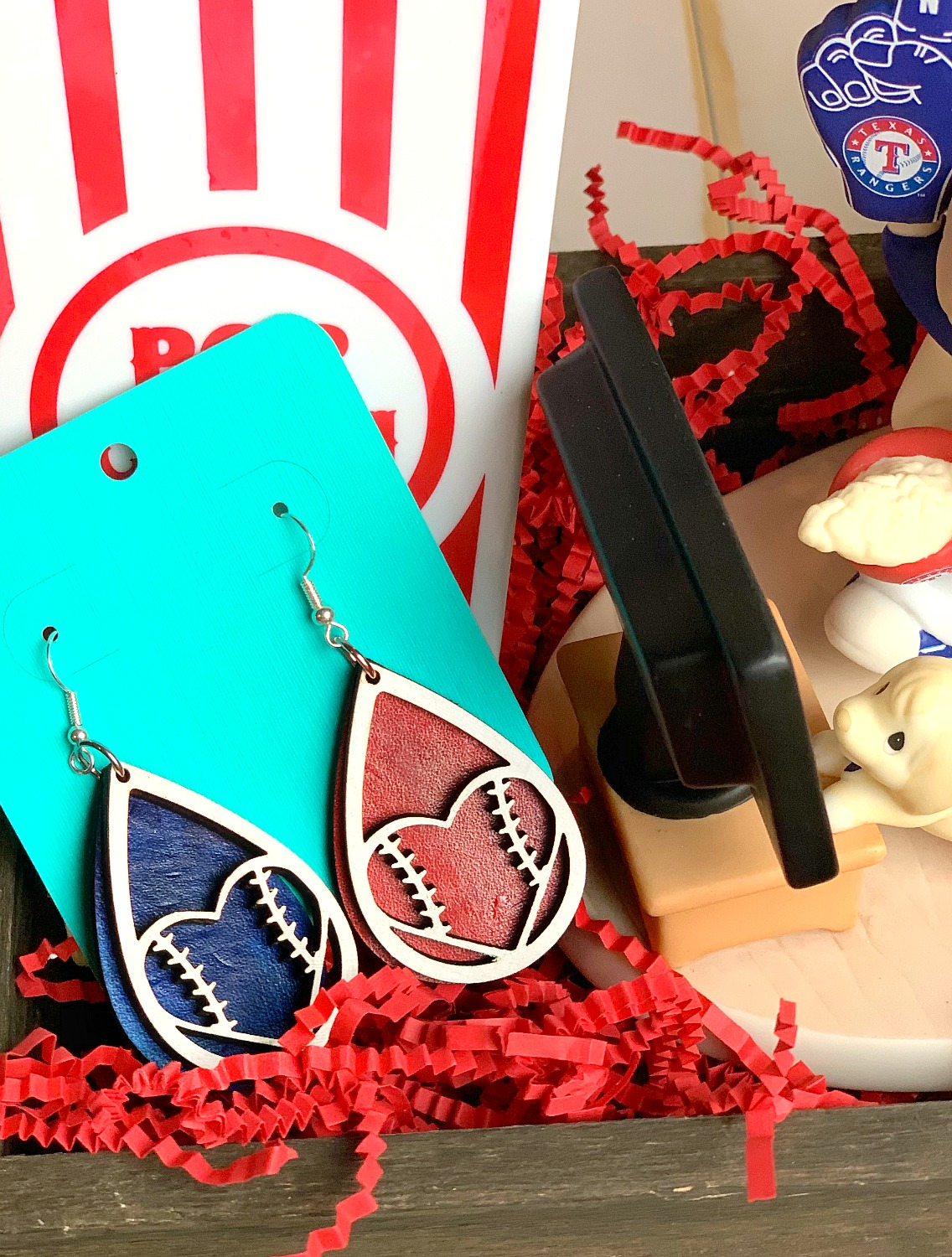 red and blue baseball earrings for Texas Rangers fan
