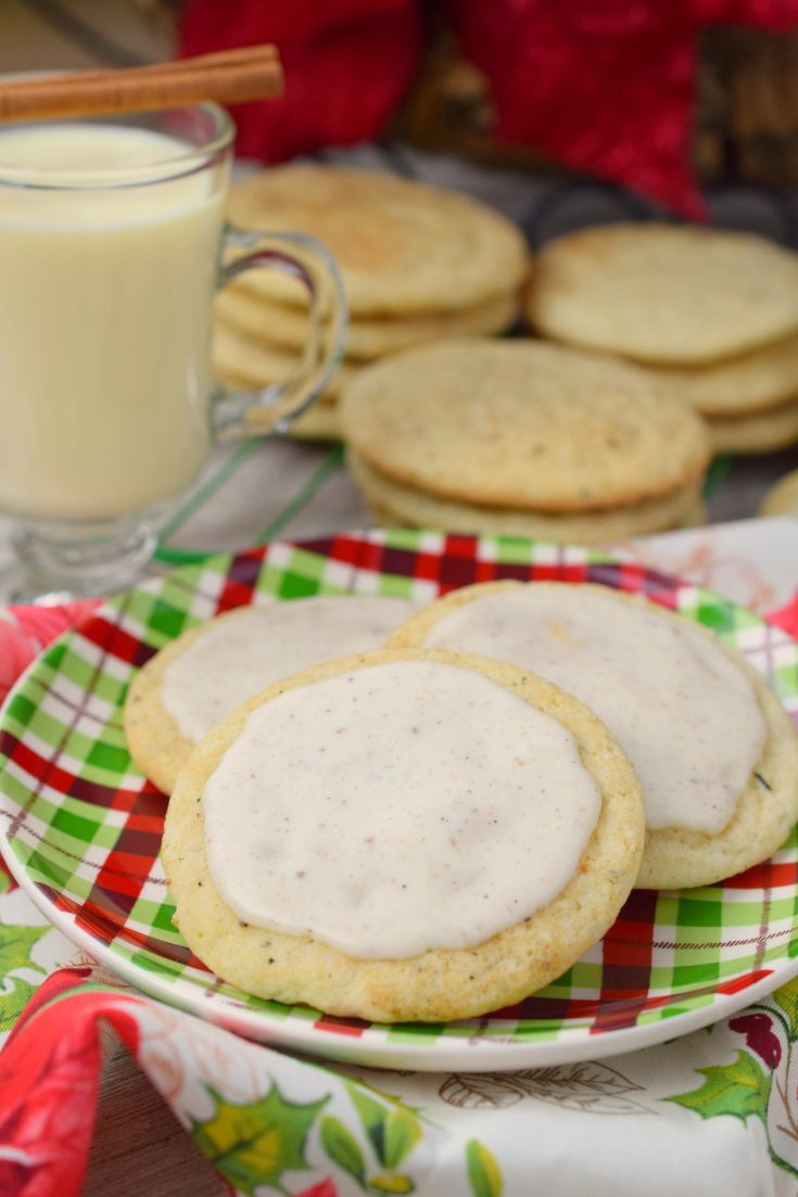 Frosted Chai Spiced Eggnog Cookies