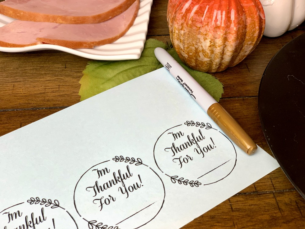 I'm Thankful For You Thanksgiving Day place cards