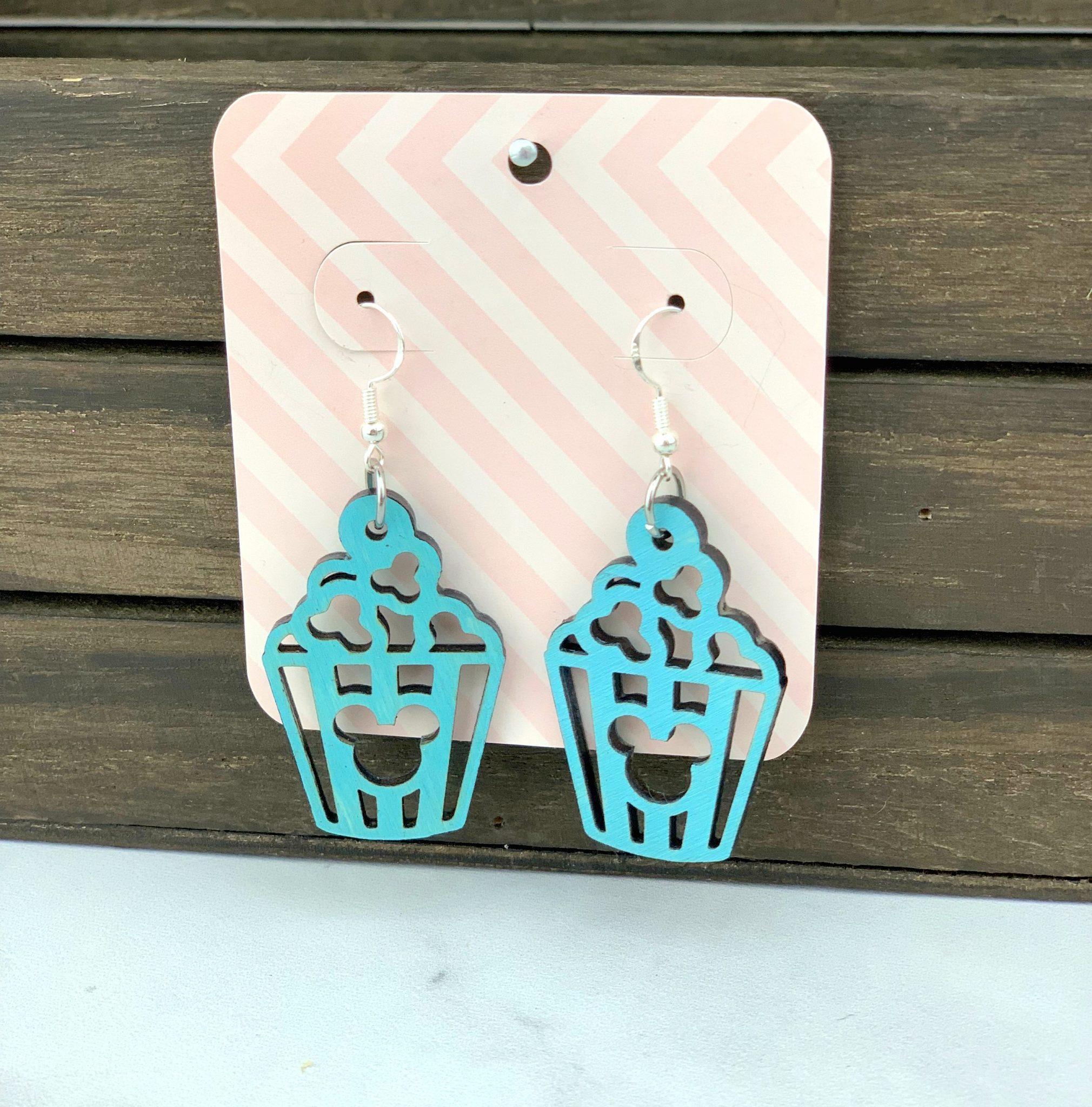 Disney Popcorn Wooden Earrings