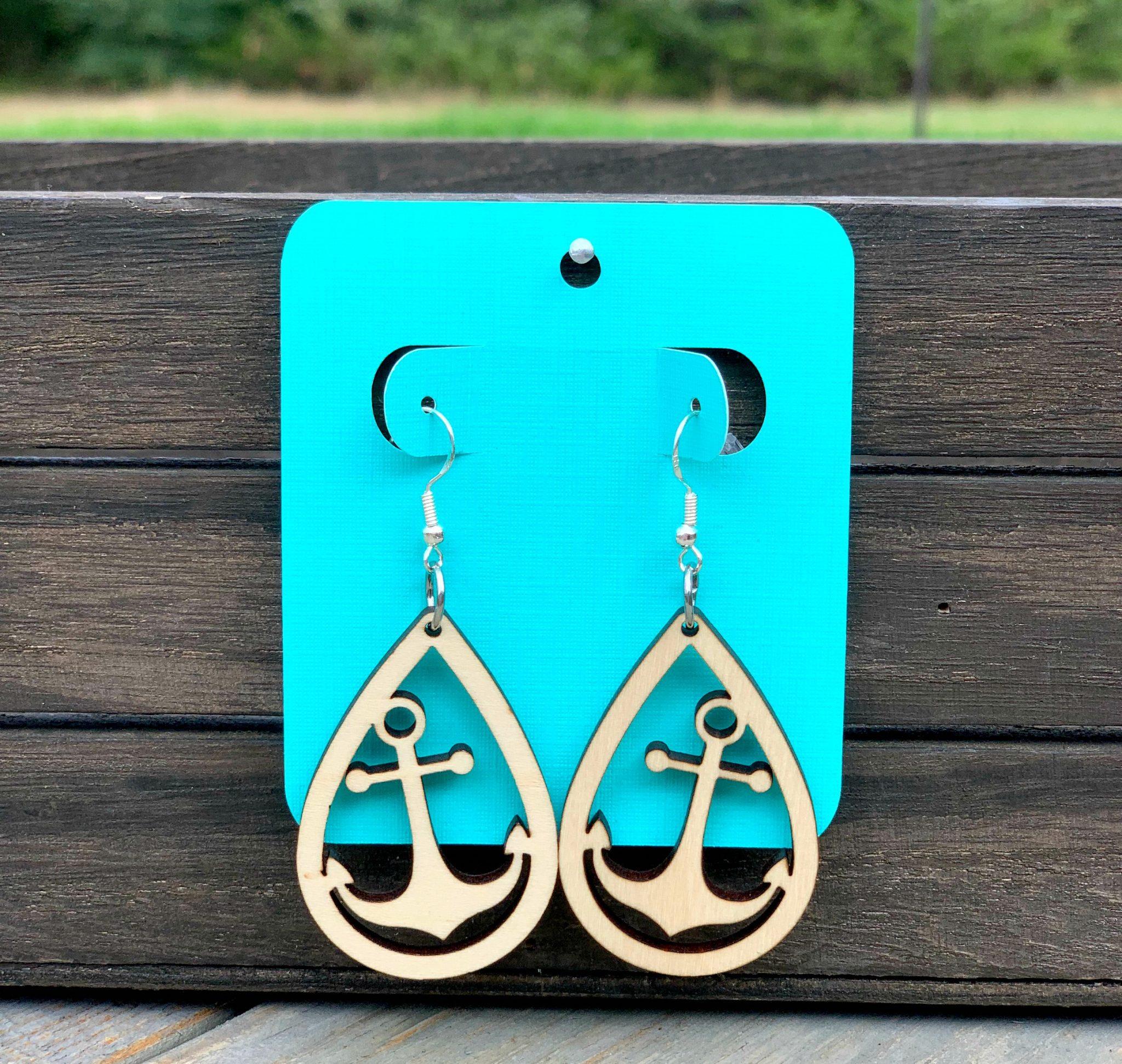 wooden anchor earrings