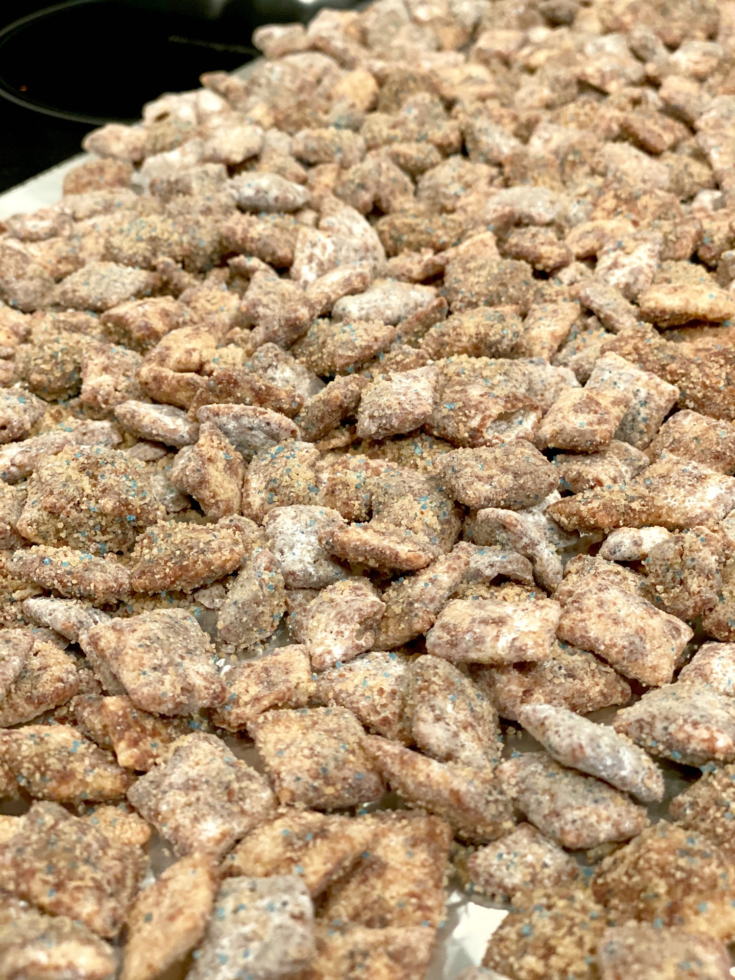 lay out muddy buddies recipe to dry