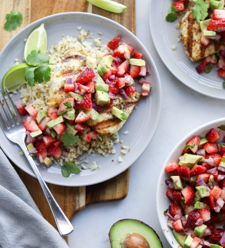 Grilled Halibut & Strawberry Guacamole