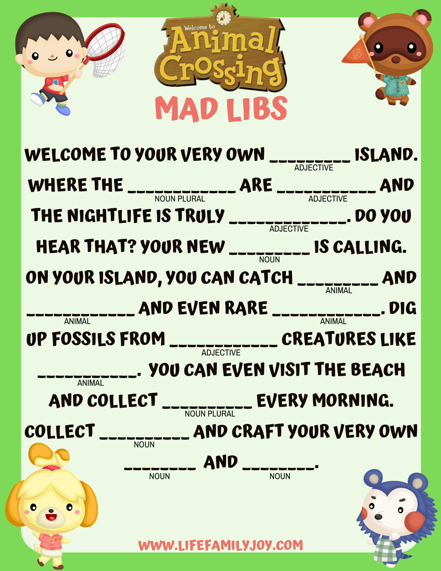 Animal Crossing Mad Libs Printable