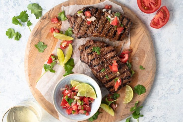Grilled Steak with Beer Marinade and Salsa Fresca
