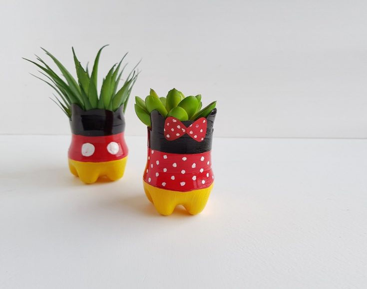 Upcycling Plastic Bottles into Mickey Mouse Flower Pots