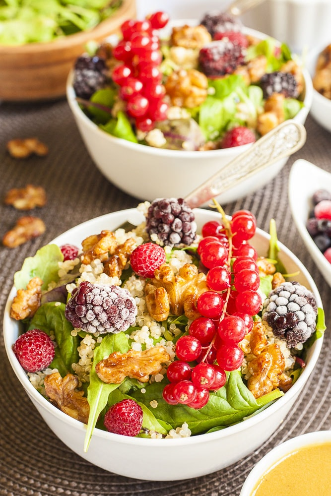 Quinoa Salad with Berries and Candied Nuts