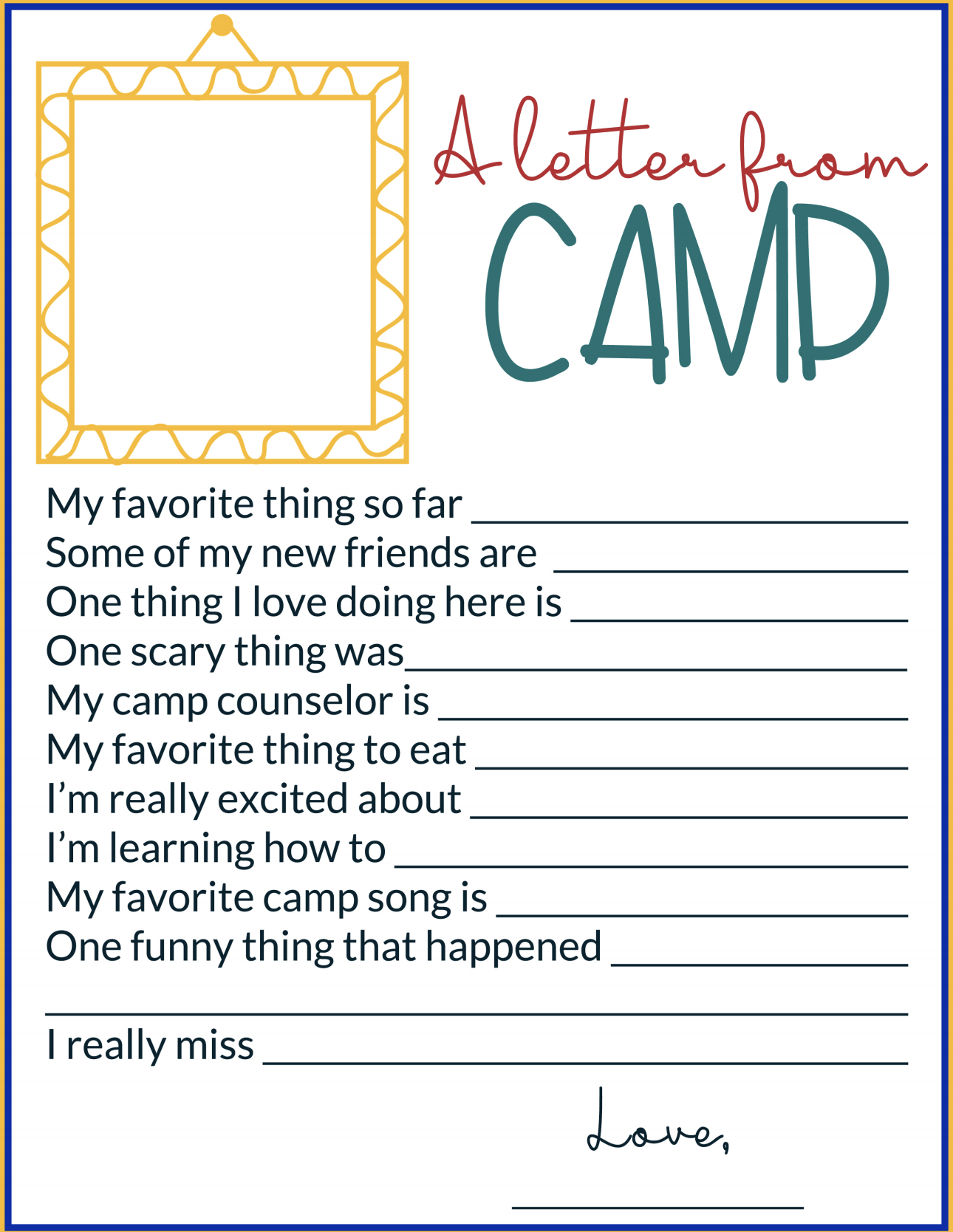Letter From Camp Printable
