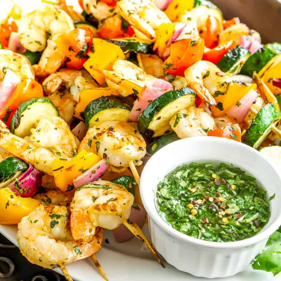 Grilled Shrimp and Vegetable Skewers with Chimichurri Sauce