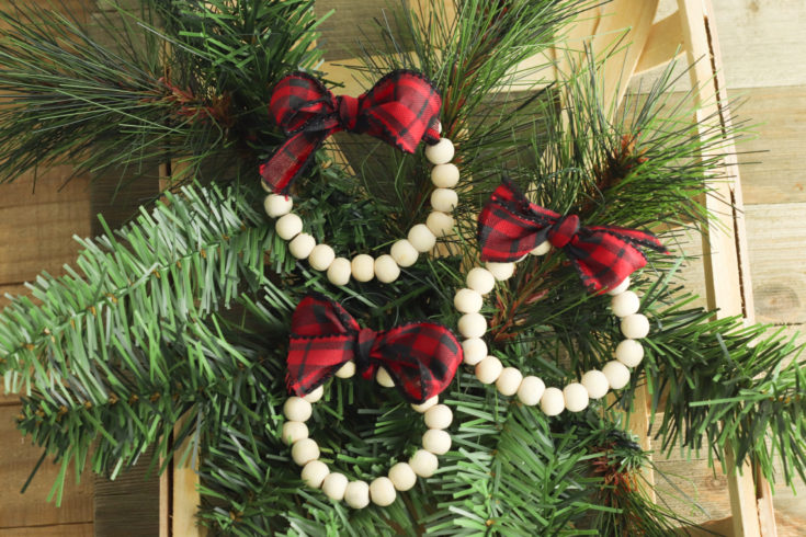 Wood Bead Wreath Ornaments