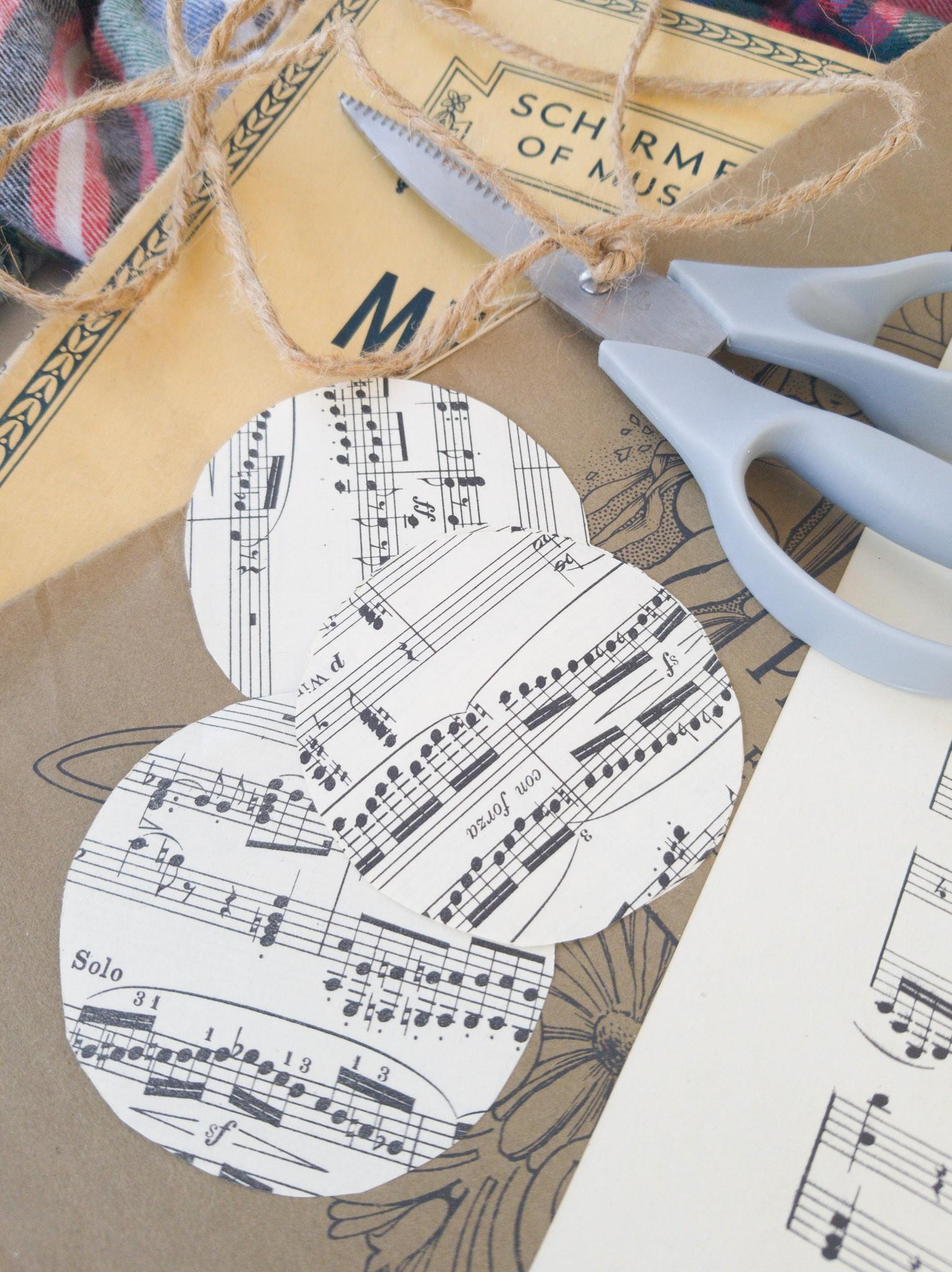 Sheet Music DIY Christmas Ornaments