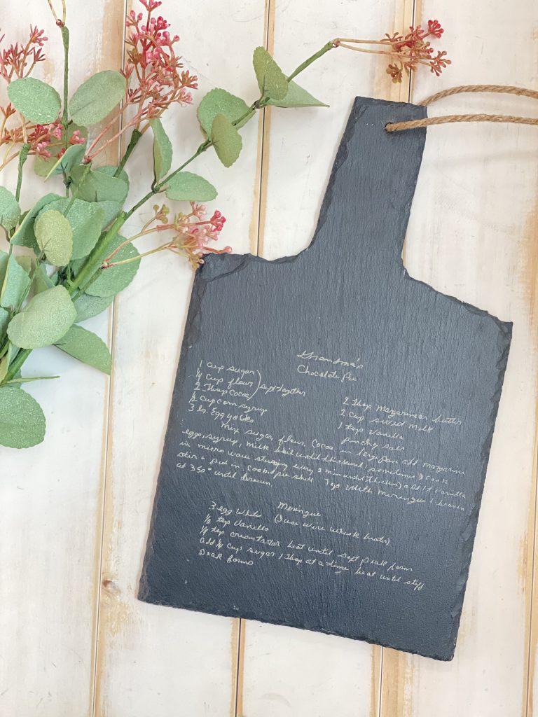 recipe engraved cutting board