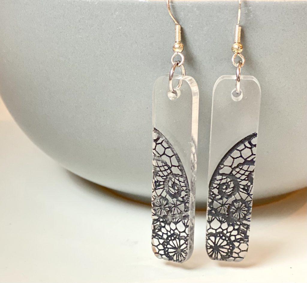 acrylic lace earrings